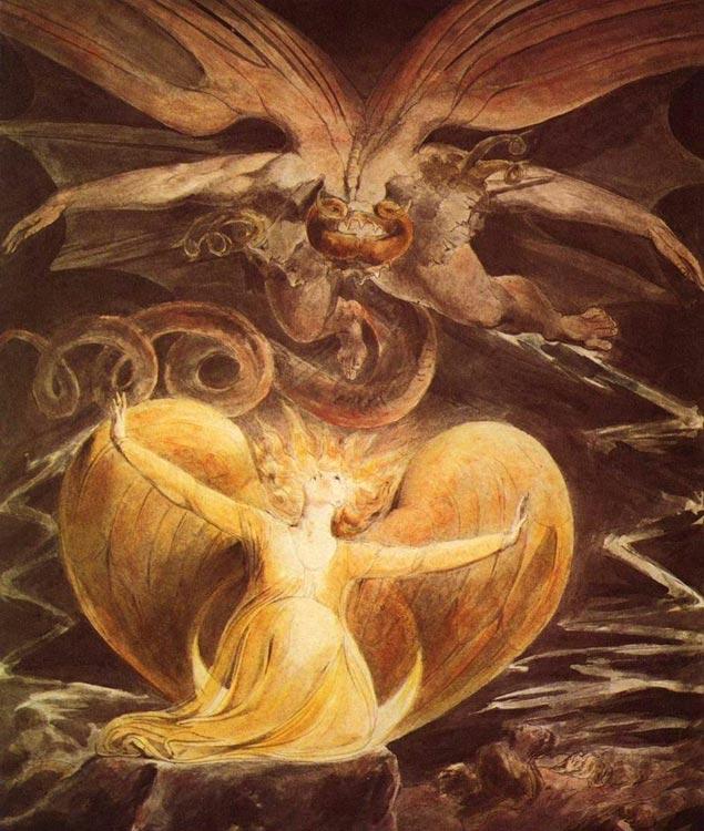 """""""Большой красный дракон и жена, одетая в солнце"""", Блейк"""