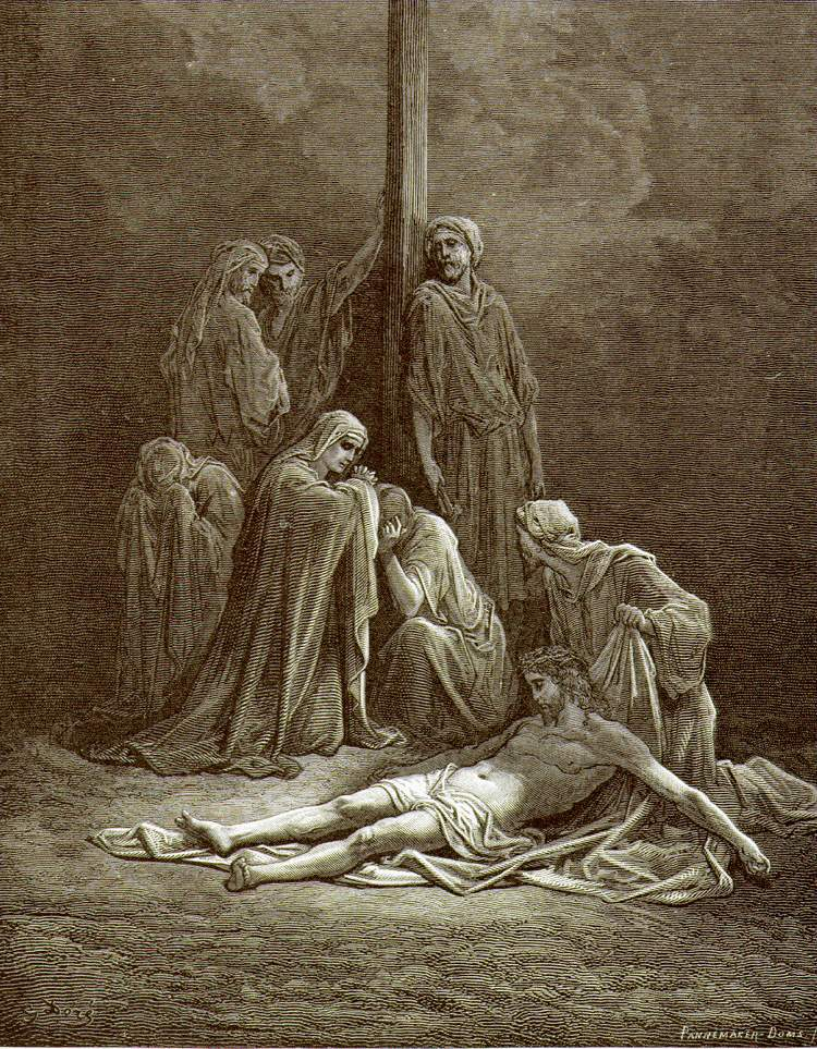 """Тело Христа заворачивают в плащаницу"", Доре"
